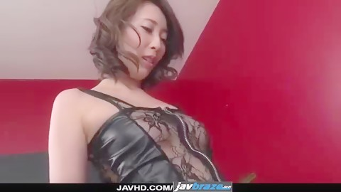 Aya Kisaki jav wife in lingerie oral sex with her step son